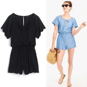 J Crew • Black Scalloped Cotton-Linen Romper